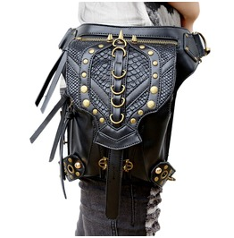 Uxisex Steampunk Victorian Retro Cross Body Leather Waist Leg Shoulder Bag