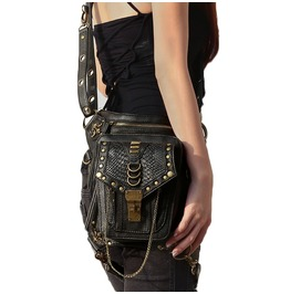 Uxisex's Steampunk Rivet Motorcycle Shoulder Faux Leather Waist Leg Bags