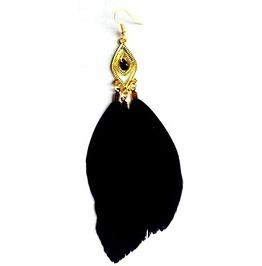 Eyecatching Long Black Feather Earrings Gold Metal Diamond Shape Stud