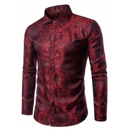 Mens Red Paisley Button Up Victorian Gentleman Dress Shirt $5 To Ship