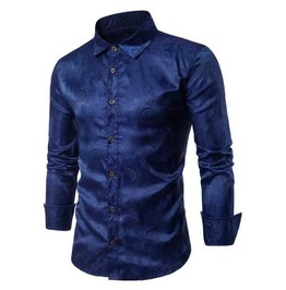 Mens Blue Paisley Button Up Victorian Gentleman Dress Shirt $5 To Ship