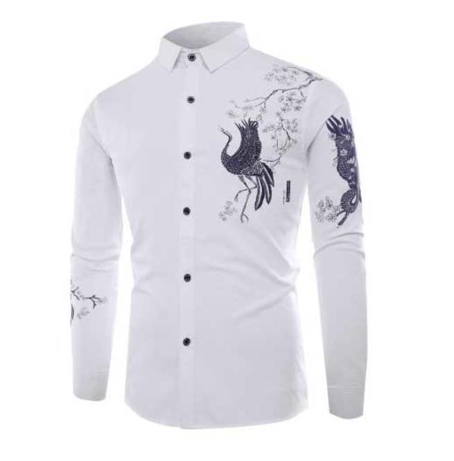 Men 39 S White Floral Bird Print Button Up Dress Shirt 5 To Ship