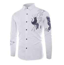 Men's White Floral Bird Print Button Up Dress Shirt $5 To Ship
