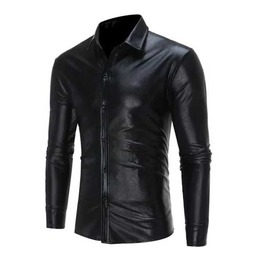 Men's Black Metallic Shiny Gothic Button Up Dress Shirt $5 To Ship