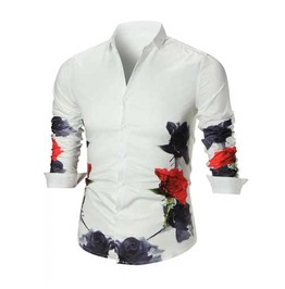 Men's White Floral Gothic Red Black Rose Button Up Dress Shirt $5 To Ship