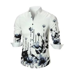 Men's White Floral Black Lotus Button Up Dress Shirt $5 To Ship