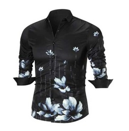 Men's Black Floral White Lotus Button Up Dress Shirt $5 To Ship