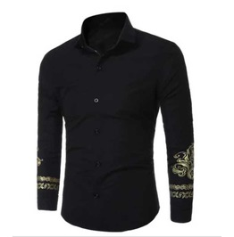Men's Black Ornate Gold Cuff Print Button Up Dress Shirt $5 To Ship