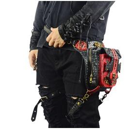 Unisex's Steampunk Colorblock Retro Gothic Skull Rivet Messenger Waist Bags