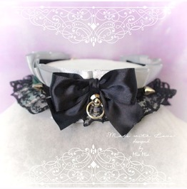 Kitten Pet Play Collar Ddlg Choker Necklace Gray Black Lace Bow O Ring