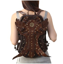 Steampunk Wing Faux Leather Large Capacity Travel Shoulder Backpack