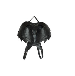 Unisex Steampunk Angel Wings Heart Shape Lace Daypack Leather Backpacks Bag
