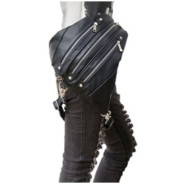Unisex's Steampunk Zipper Deco Leather Waist Triangle Leg Bag Backpack