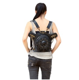 Unisex's Steampunk Fashion Punk Shoulder Bag Round Backpack Leather Bags