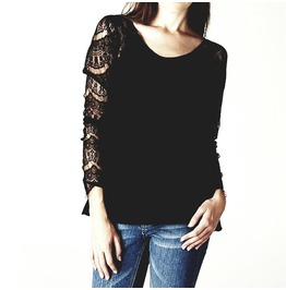 Cool Black Long Lacy Sleeve Top One Size Us 8/10 Uk 12/14