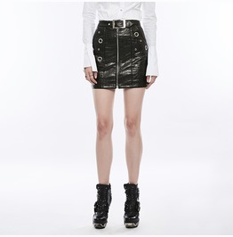 Punk Rave Women's Punk Zipper Faux Leather Wrap Skirt With Belt Wq350 Bqf/Bk
