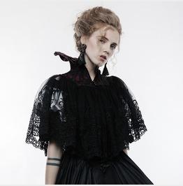 Women's Gothic 3 D Embroideried Lace Bat Short Cloak Y834