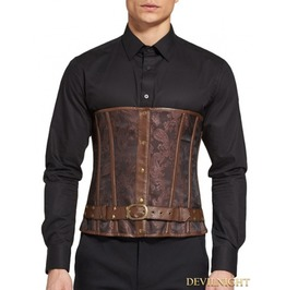 Brown Steampunk Jacquard Underbust Corset Waistcoat For Men Dnmc0006