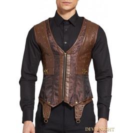 Brown Jacquard Steampunk Corset Waistcoat For Men Dnmc0003