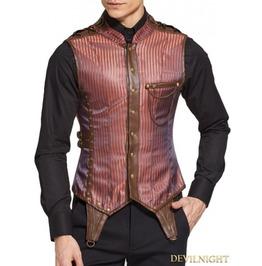 Brown Stripe Buckle Belt Steampunk Corset Waistcoat For Men Dnmc0002