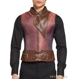 Brown Steampunk Stripe Corset Waistcoat For Men Dnmc0001
