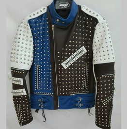 Made To Order Full Studded Biker Leather Coat Jacket Multi Color Design
