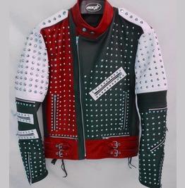 Unique Design Full Studded Biker Leather Coat Jacket Multicolor Custom Made