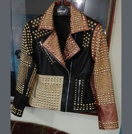 New Woman Motorcycle Fashion Golden Full Studded Leather Jacket