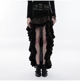 Punk Rave Women Steampunk Oversized Belt Deco High/Low Layered Skirt Q347