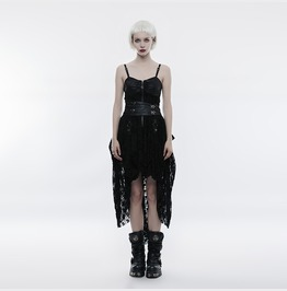 Punk Rave Women's Steampunk Lace Faux Leather Slim Fitted Flare Dress Q345