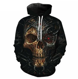 3 D Melted Cyber Skull Pullover Hoodie