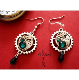 Vintage Watch Movement Emerald Steampunk Earrings