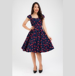 Navy Cherry Dress Party Dress Pinup Rockabilly Dress Steampunk Gothic Emo