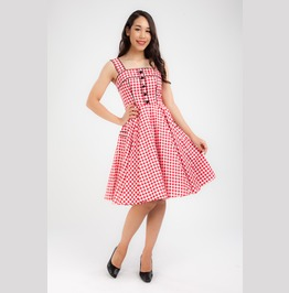 Red Gingham Dress Pinup Dress Rockabilly Retro Party Plus Size Checkered