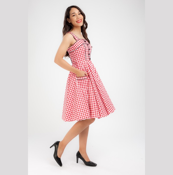 Red Gingham Dress Pinup Dress Rockabilly Retro Party Plus Size