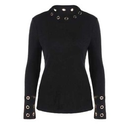 Women's Black Long Sleeve Sweater Eyelet Cuff Collar Goth Top