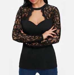 Women's Black Lace Long Sleeved Open Neck Goth Top