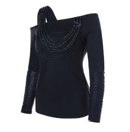 Women's Black Asymmetical Distressed Off The Shoulder Beaded Goth Top