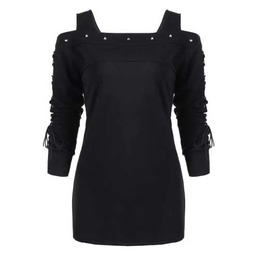 Women's Black Off The Shoulder Lace Up Sleeve Goth Tunic Top