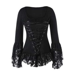 Women's Black Corset Lacing Lace Bell Sleeve Blouse Goth Lolita Top