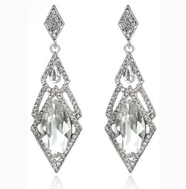 Charming White Clear Hypoallergenic Crystal Rhinestone Long Light Earrings