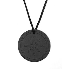 Awesome! Healing Volcanic Rock Circular Pendant With Sun Symbol On Front