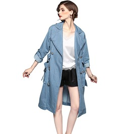 Lapel Collar Sky Blue Denim Knee Length Trench Coat With Belt & Pockets