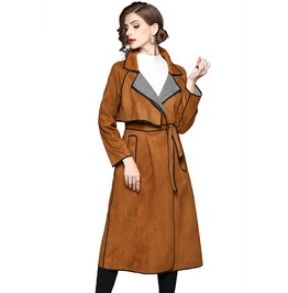 Vintage Retro Turn Down Collar Suede Trench Coat Women With Pockets & Belt