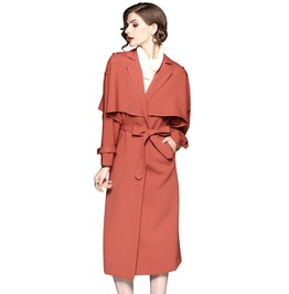 Vintage Retro Cape Cloak Women Long Trench Coat With Belt & Pockets