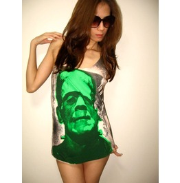 Green Frankenstein Monster Film Movie Tank Top M