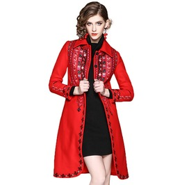 Vintage Geometric Floral Pattern Embroidery Women Wool Coat With Pockets