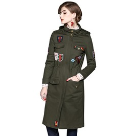 Military Style Hooded Long Coat With Pockets Flower Bee Seals Embroidered
