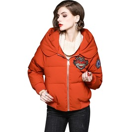 New Hope Big Flower Heart Embroidered Hooded Jacket Coat With Pockets