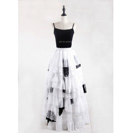 Black And White Gothic Irregular Chiffon Cupcake Long Maxi Skirt D1 S003